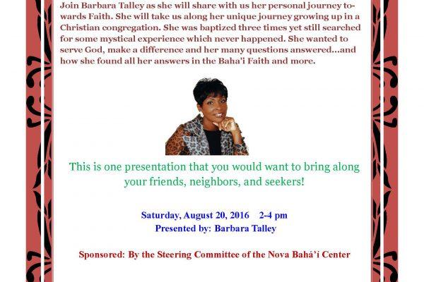 Journey towards faith August 20 2016